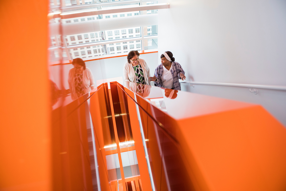 Dental Assistant choose to climb flights of stairs for exercise at Tufts University School of Dental Medicine on Jan. 14, 2019.