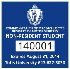 Example of a blue square decal for a non-resident student