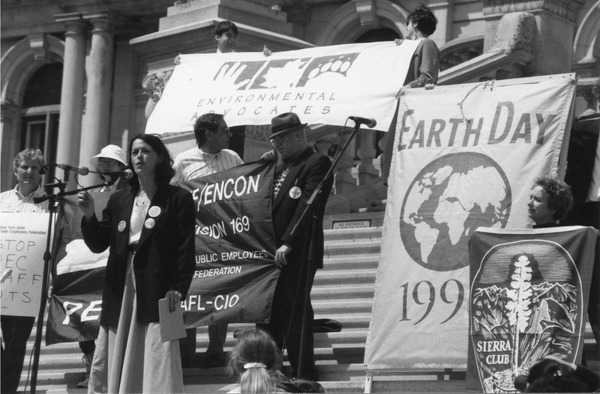 Lois Gibbs speaking at 1996 Earth Day rally in Albany, New York.